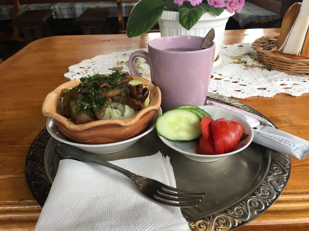Chainaya Suzdal green tea and potato mushrooms
